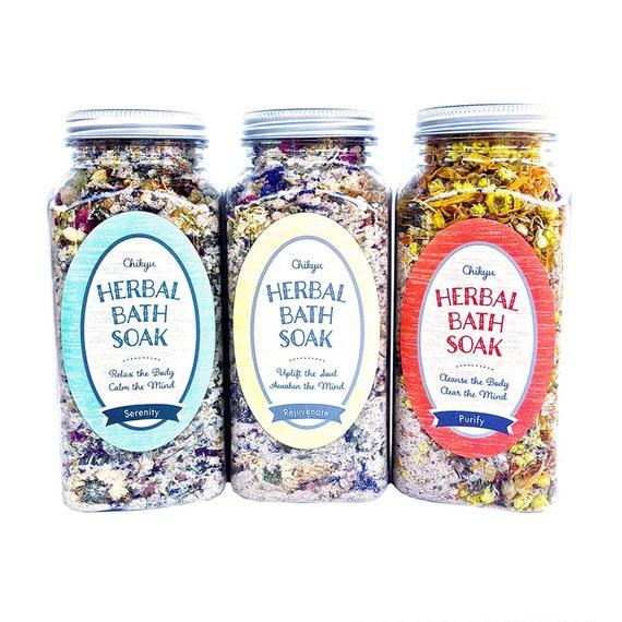 Spa Gift Set, Mini Spa Set, Gift Set, Therapeutic Bath Salts, Body Detox Bath Salts, Herbal Bath Soak Collection-Set of 3