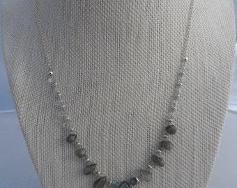 Labradorite, Aquamarine and Sterling Silver Drop Necklace