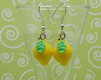 Lemon Earrings, Fruit Earrings, Summer Earrings, Quirky Earrings, Kitsch Earrings, Party Earrings, Yellow Earrings, Fun Earrings, Kawaii