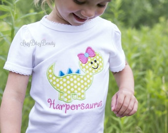 Dinosaur dino shirt girls cute custom personalized saurus green blue pink birthday