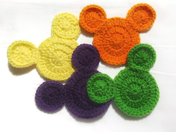 Crochet Pattern Mickey Mouse Inspired Cup Coasters From