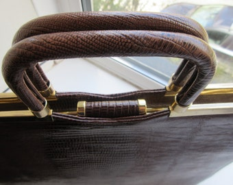 Vintage Large Lizardskin Handbag - Beautiful Double Handles