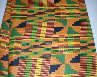 Taditional Kente print African fabric per yard kente #2/ African textiles/ African prints/ kente cloth fabrics/ Clothing/ Decor