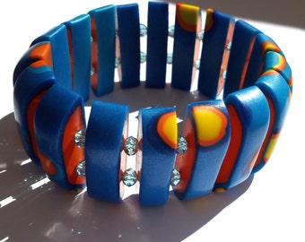 Polymer Clay Bracelet, Stretch Bracelet, Abstract Bracelet