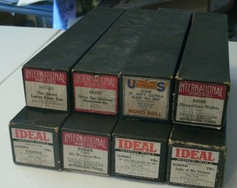 Lot of Piano Rolls, for Player Pianos, c1927, by various companies, fair to good shape