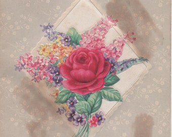 Used Mothers Day Card, 1945, fair shape, rose sachet on front
