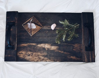 Rustic Wood Industrial Bed - Serving Tray