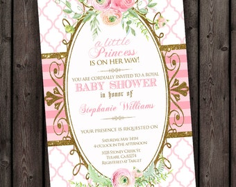 baby girl shower invitation, FAST ship, customized wording included, flower baby shower invitation, water color flowers, quatrefoil stripes