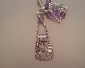 Fine Silver Necklace with Amethyst