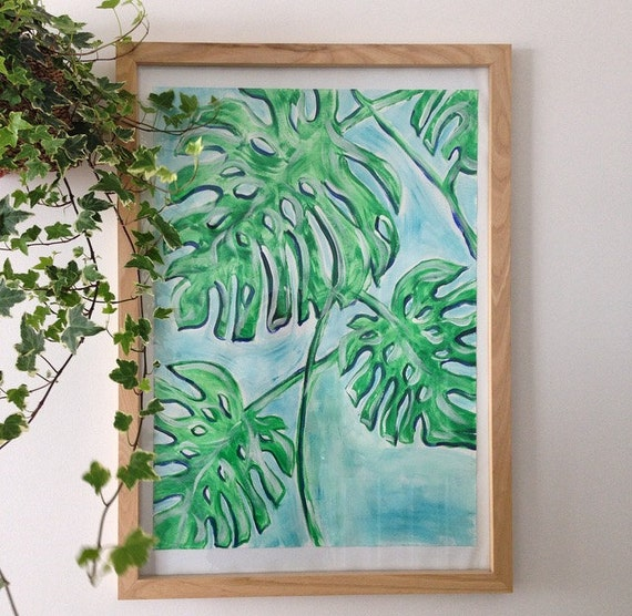 Botanical Monstera Wall Art, Fine Art Print, mixed greens and blues