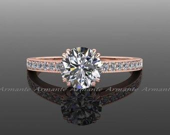 Rose Gold Solitaire Engagement Ring, Diamond And Moissanite Engagement Ring 14k Rose Gold Round Moissanite Ring Re00015r