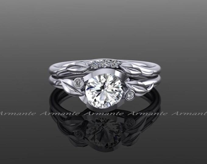 White Sapphire Wedding Set And Diamond Bridal Flower Leaf
