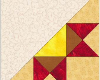 Half Ohio Star Paper Piece Templates Quilting Block Pattern PDF