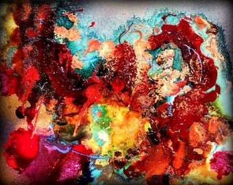 Drowning-abstract painting-canvas abstract- expressionism- modern- acrylic-ink-original painting- 8x10
