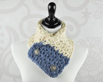 Scarf - Neckwarmer - Blue and Cream - Crochet