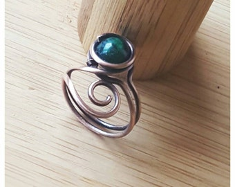 Simple wire wrapped azurite ring/wire wrapped ring/gemstone ring wire/copper ring azurite/stone ring copper/wire ring with gemstone/rings