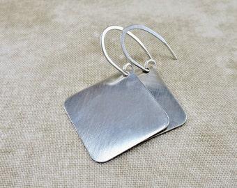 Silver Earrings ~ Geometric Earrings ~ Small Drop Earrings ~ Square Earrings ~ Dangle Earrings ~ Minimalist Earrings ~ Lightweight Earrings