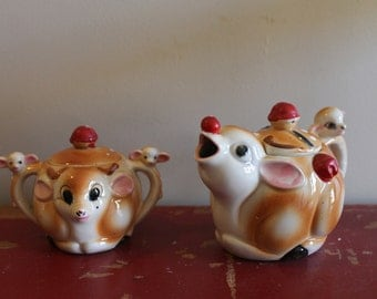 Vintage Rudolph the Red Nosed Reindeer Cream and Sugar Set