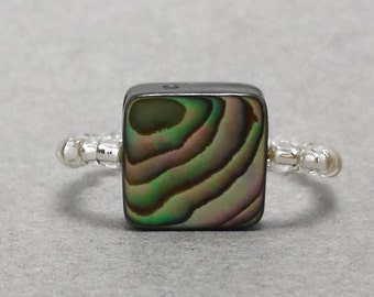 Silver Abalone Square Stretch Ring R27