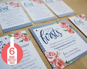 A Year of Firsts - Wine Basket Tags - 6 tags plus main tag
