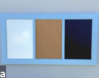 "Large Framed Chalkboard – Triple – Chalkboard Framed – Cork/Chalk/White 13.25""x28.5"""