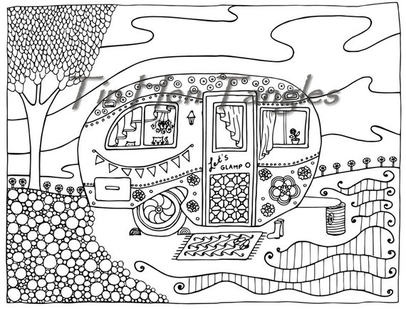 Glamper Camper Coloring Page Summer Dream Camping