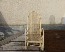 Rocking chair, straw and raffia for dolls, vintage 1970,