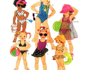 McCalls Sewing Pattern 9374 Girl's Swimsuits, Cover-up, Sarong    Size:  CL 6-7-8  or  CD  2-3-4  Uncut