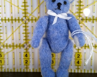 miniature needle felted wool teddy bear