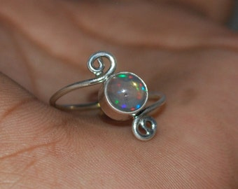 Ethiopian Opal Ring , Natural Opal Ring , 925 Sterling Silver Opal Ring , October Birthstone Ring ,Silver Welo Opal Ring N11