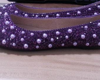 Purple Closed Toe Ballet Flats Shoes