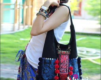 Miya's Original Ethnic Hmong Embroidered Bag Purse Shoulderbag -Blue Porcelain