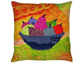 Festive Fruit Printed Throw Pillow. Cushion Cover, Apartment and Dorm Decor, Sofa Cushion, Kitchen Decor, Tropical Decor, Folkloric Decor