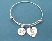 Pinky, Promise, I Love You More, Heart, Bangle, Bracelet, Jewelry, Valentine, Gift, Birthday, Friendship, Lover, Gift, Accessories, Jewelry