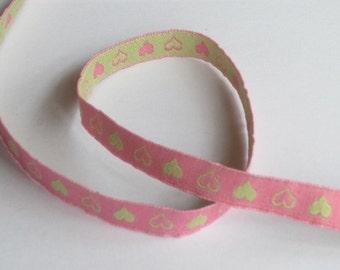 Ribbon heart - pink/light green