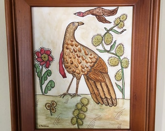 Watercolor and ink painting of Pa German birds
