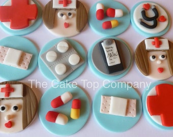 Nurses/hospital/Get well soon edible fondant cupcakes toppers