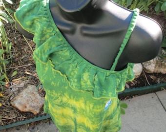 Tie Dye top. Sleeveless L 14/16 Girls Arizona shirt. Indigo-Dyed cotton. Green, yellow design. Prewashed, colorfast, upcycled. Textile art.