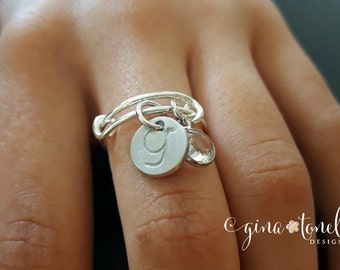 Birthstone Charm Ring, Personalized Expandable Ring, Silver Initial Ring, Adjustable Ring, Twisted Wire Ring, Stackable Ring with Initials
