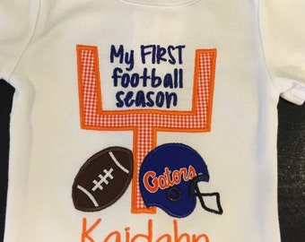 My First Football Season Personalized  Shirt or Body Suit