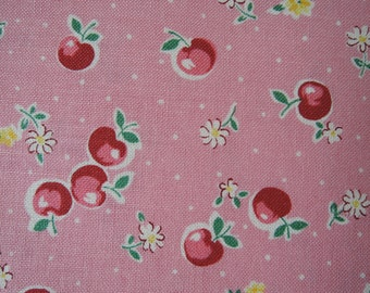 "Fat Quarter of Yuwa Atsuko Matsuyama 30's Collection Apples, Floral and Dots Fabric in Pink. Approx. 18"" x 22"" Made in Japan."