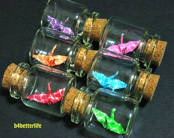 Lot of 6pcs 1-inch Hand-folded Paper Crane In Clear Glass Mini Bottle With Cork. (MD paper series). #CIB06e.
