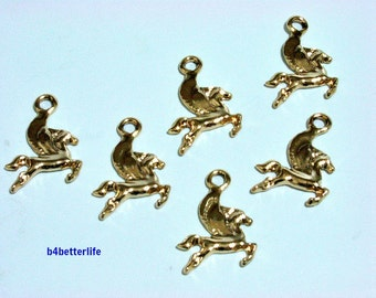 "Lot of 24pcs ""Pegasus"" Gold Color Plated Metal Charms. #XX489w."