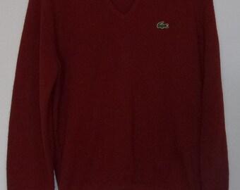 Vintage Izod Lacoste V-Neck, Burgundy Pullover Sweater