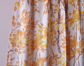 2 PAIR 70's JC Penny Pleated lined Curtains / Trees with Orange and Yellow Leaves