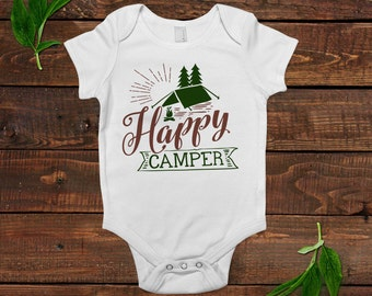 Summer Baby Shirt - Summer Baby Bodysuit - Happy Camper Baby Shirt with Saying