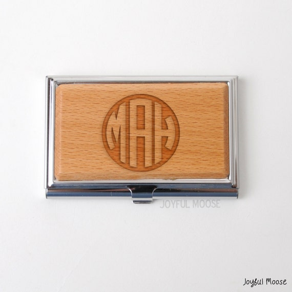 Monogram bamboo business card holder personalized by for Bamboo business card holder