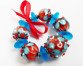 Lampwork Bead Set; Turquoise Glass Beads; Red, White, Mint Beads.