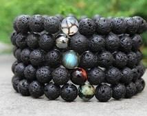 Mens Bracelet Mens Gift Lava Bracelet Cool Gifts for Men Black Bracelet Mens Beaded Bracelet Boyfriend Gift for Brother Gift Gifts for Him