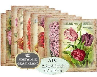 Vintage Flowers Instant Download ATC digital collage sheet S115 shabby tulips hyacinth flower spring